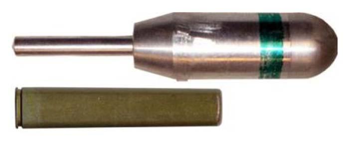 """30-мм граната БМЯ-31 """"Ящерица"""" (вверху) 9-мм вышибной патрон ПМАМ """"Мундштук"""" (внизу)"""