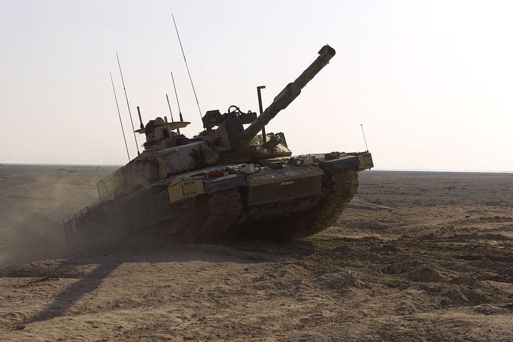 A Royal Scots Dragoon Guards Challenger II climbing an obstacle during a training exercise 17 Nov 2008, in Basra, Iraq
