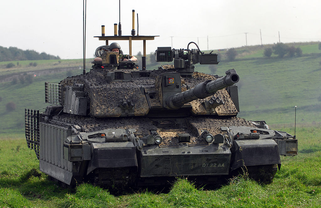 Challenger II with armour upgrades to the sides of the turret, skirts, bar armour to rear