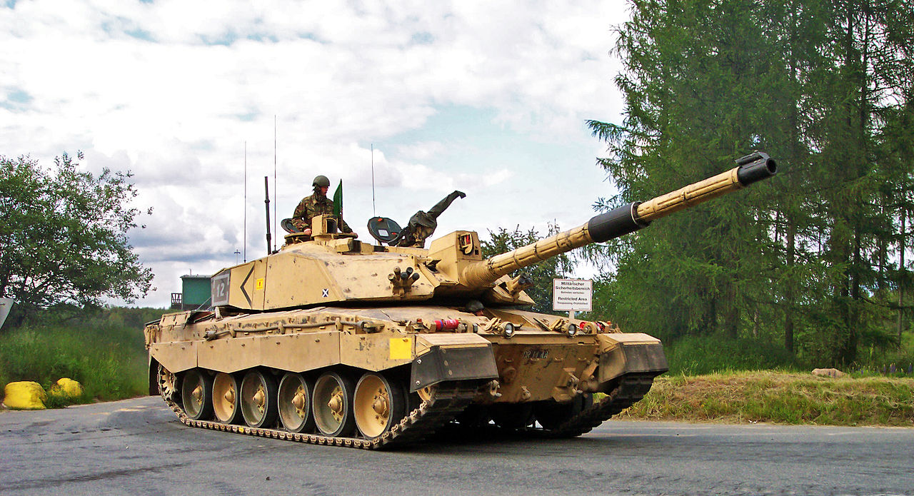 Challenger 2 Tank of the Royal Scots Dragoon Guards (Squadron D) during live fire training exercises on Bergen-Hohne Training Area (Germany)