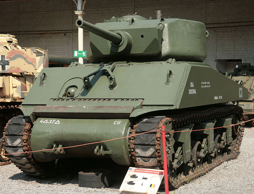 M4A3E2 Sherman Jumbo. Many units replaced the original 75 mm gun with a 76 mm gun
