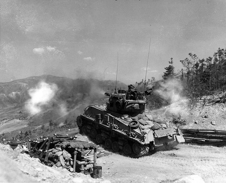 Last type in US service: M4A3(76)W HVSS Sherman used as artillery in firing position during the Korean War