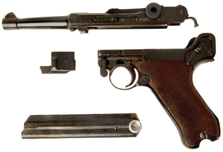 Неполная разборка пистолет Люгера Р.08 Парабеллум
