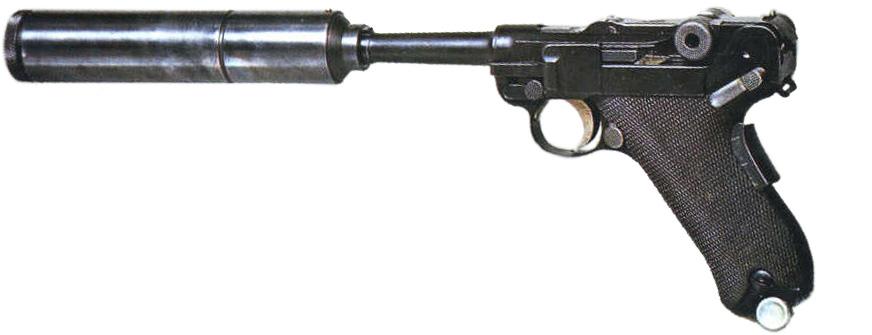 Пистолет Люгера Р.08 Парабеллум с глушителем расширительного типа