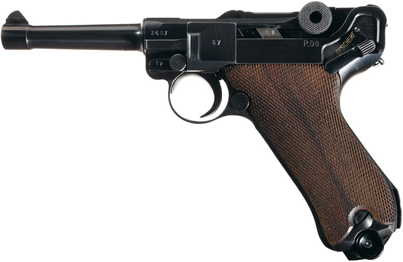 Пистолет Люгера Р.08 Парабеллум вид слева