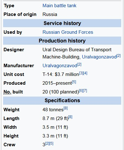Tank T-14 Armata Technical Specifications
