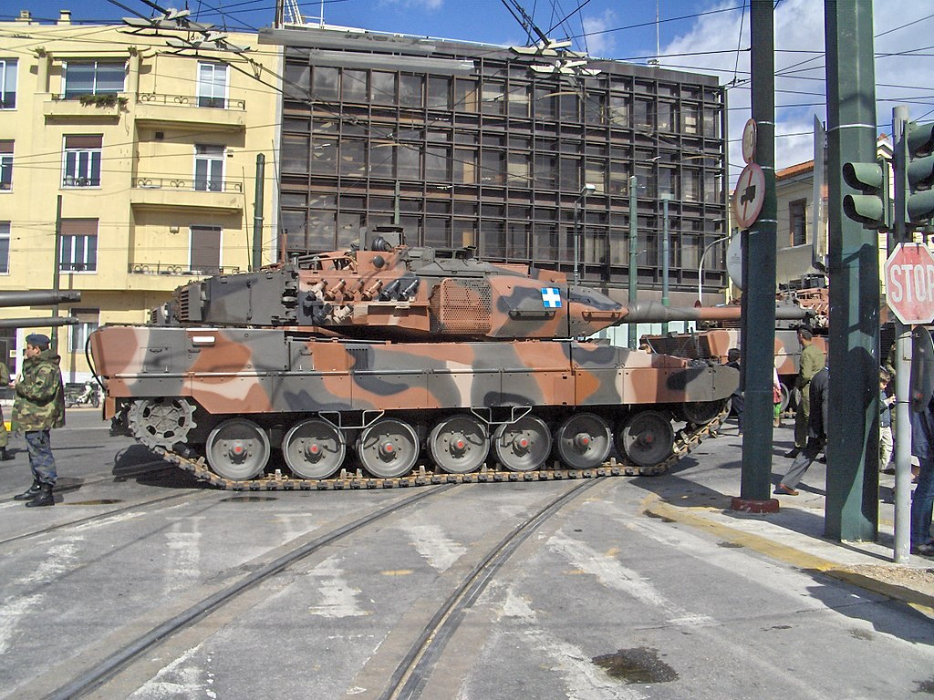 Hellenic Army Leopard 2A6HEL in the streets of Athens