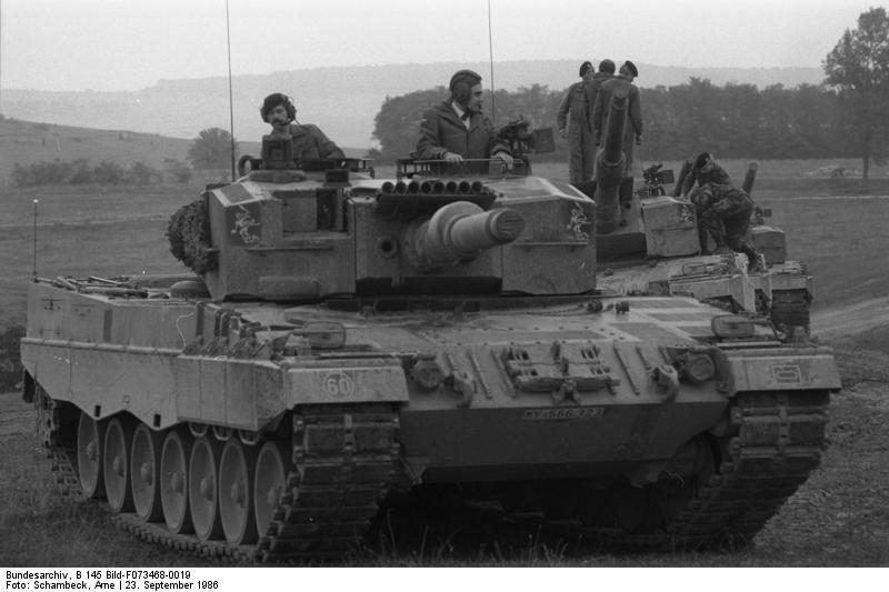 Leopard 2 tanks during a manoeuvre in 1986