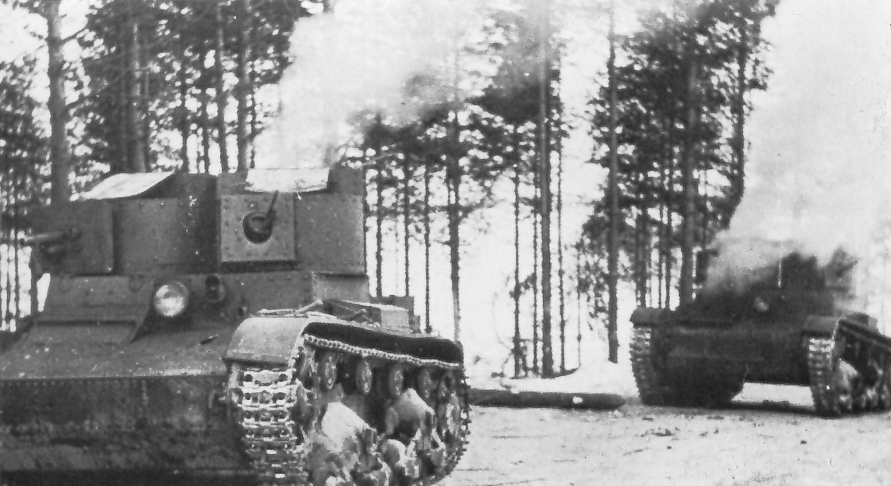 Twin-turreted T-26 mod. 1931 with riveted hull and turrets, armed with the 37 mm Hotchkiss gun (PS-1) in the right turret. Battle of Tolvajärvi. December 1939