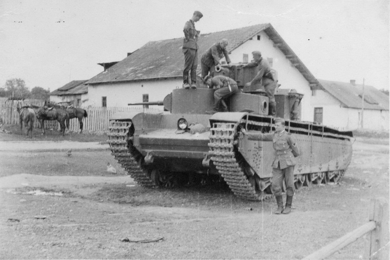 German troops posing on a captured T-35