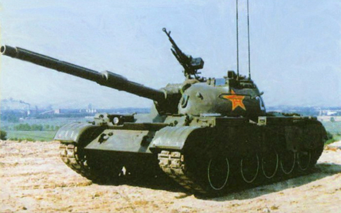 The Type 59 main battle tank is a Chinese-produced version of the Soviet T-54A tank
