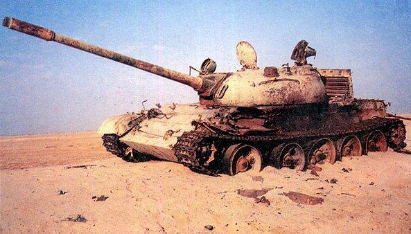 A destroyed Iraqi T-55