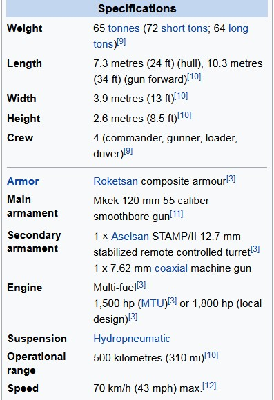 Technical Specifications The Altay tank